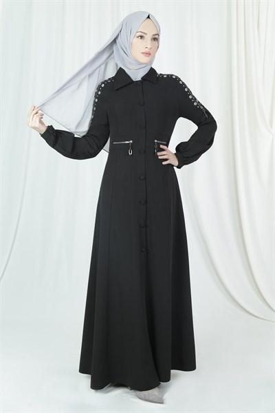 'Ahad' Eyelet Abaya - Black Abaya Dana Fashion 38 Black