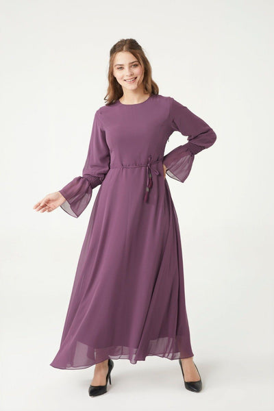 'Ameera' Chiffon Dress - Purple Dress Dana Fashion