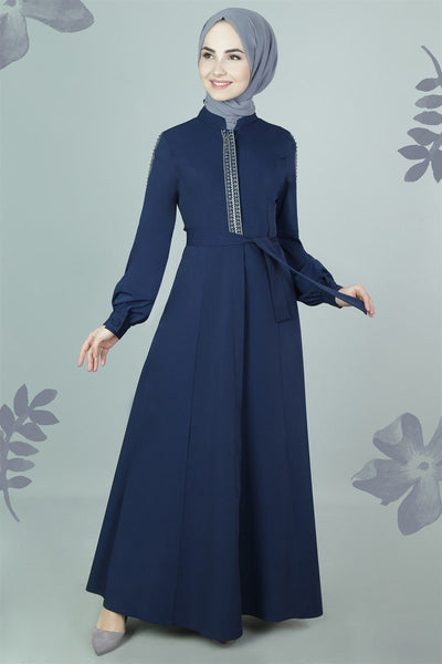 Embroidered Trim Abaya | Navy Blue Abaya Dana Fashion