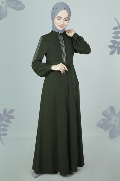 Embroidered Trim Abaya | Seaweed Abaya Dana Fashion