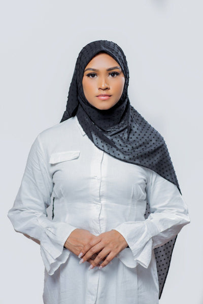 Mosaic Butti Chiffon | Black Hijab Dana Fashion