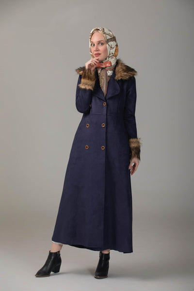 'Naayla' Faux Fur Coat | Dark Blue Coat Dana Fashion 38