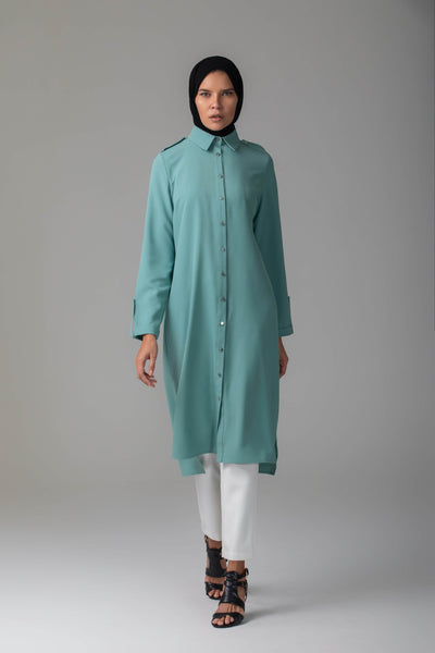 'Nadine' Button-Up Tunic | Turquoise Tunic Kamal