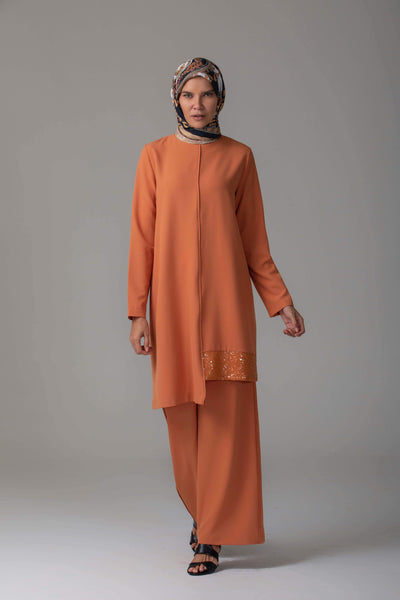 'Rania' Evening Two-Piece | Orange Two-piece sets Dana Fashion S