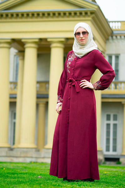 Rose Patterned Dress | Red Abaya Dana Fashion