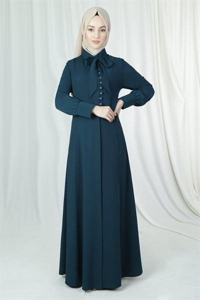 'Sarah' Button Dress - Petrol Abaya Dana Fashion 44 Petrol