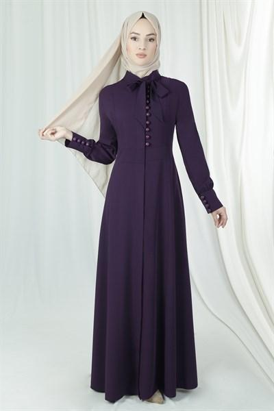 'Sarah' Button Dress - Plum Abaya Dana Fashion 44 Plum