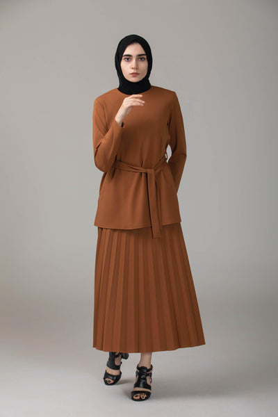 'Selma' Two-Piece Skirt Suit - Brown Two-piece sets Dana Fashion XS