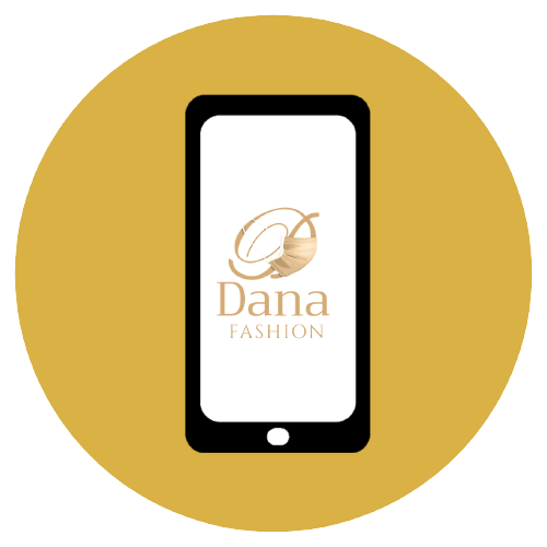 An illustrated hand holding a phone with the Dana fashion logo on it.