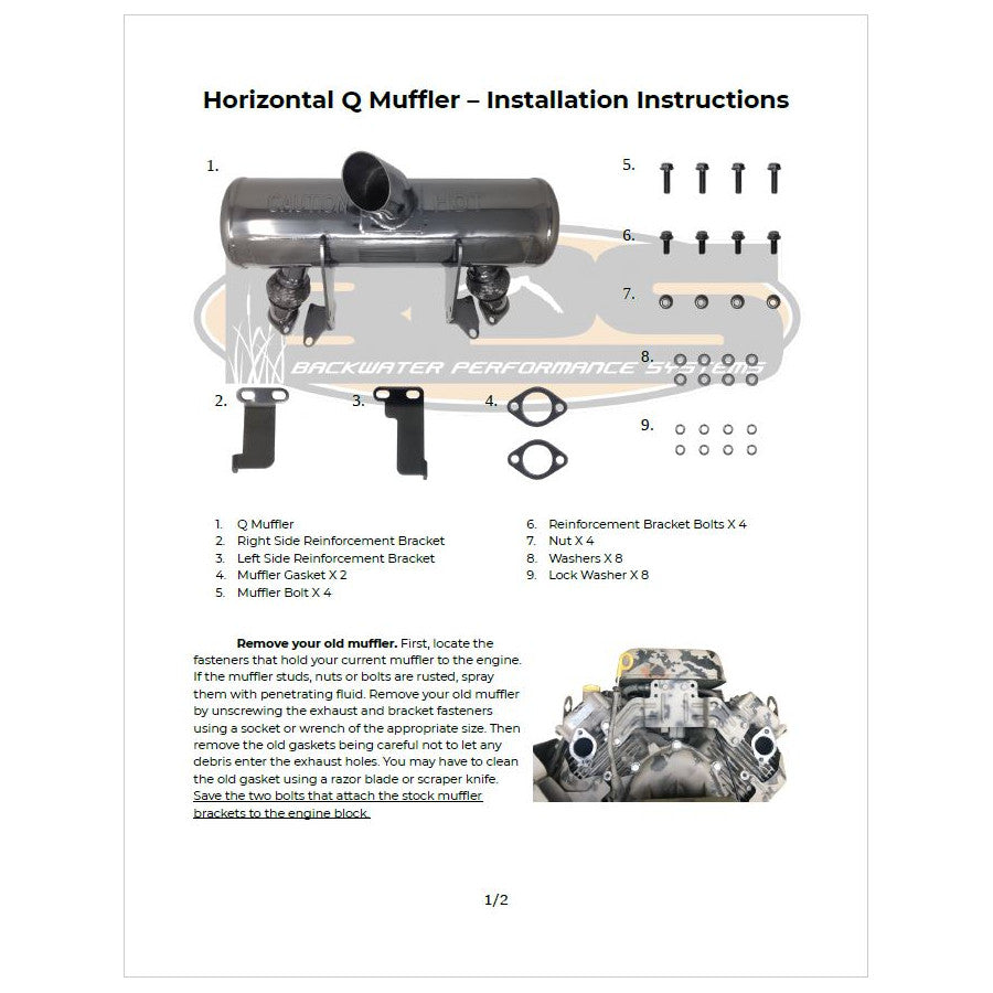Horizontal Q Muffler Installation Instructions