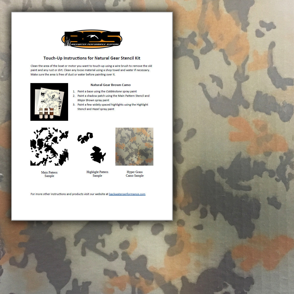 Touch-Up Instructions for Natural Gear Stencil Kit