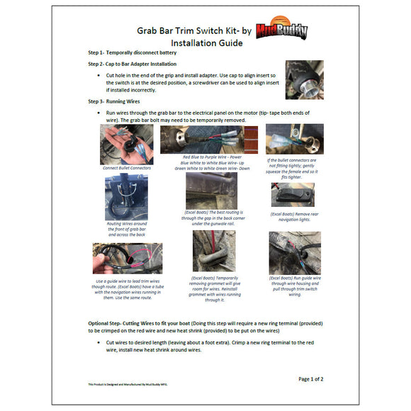 Adjustable Grab Bar Trim Switch Kit Installation Instructions