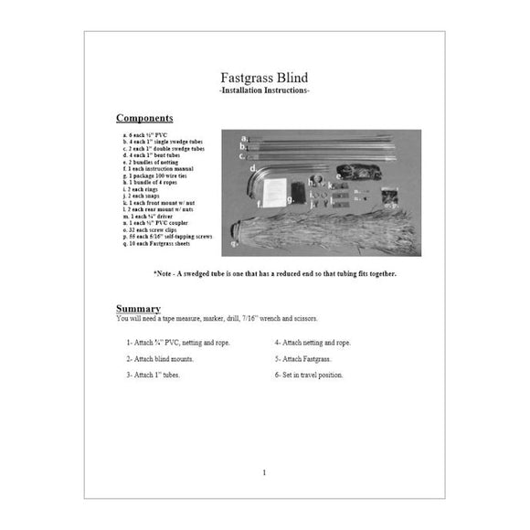 Fastgrass Blind Installation Manual