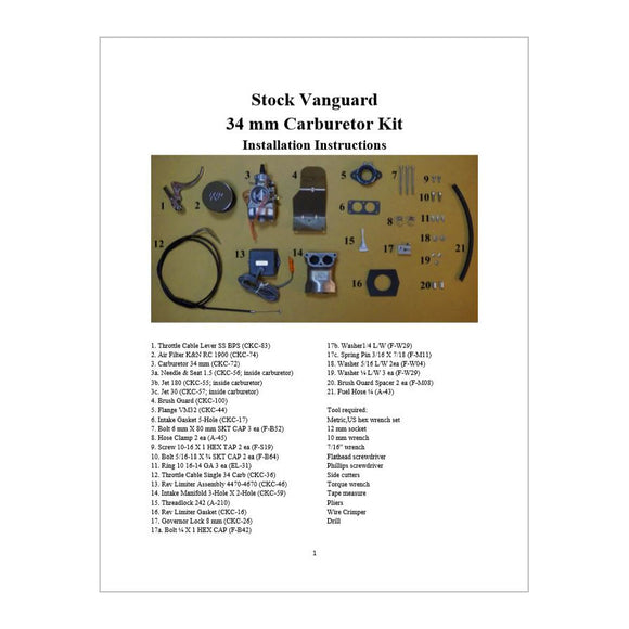 Single Carb Kit 34mm Small Vanguard Installation Instructions