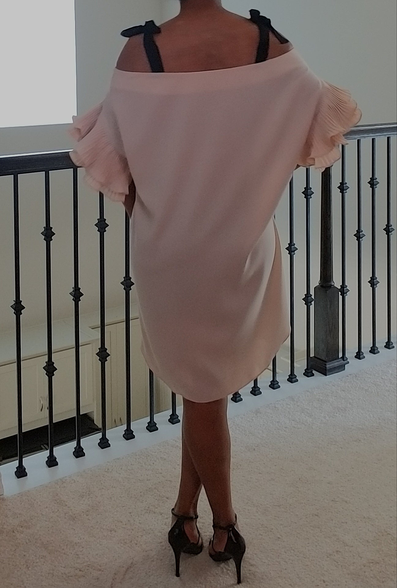 Pleated Ruffle Sleeve Cold Shoulder Dress - Nude