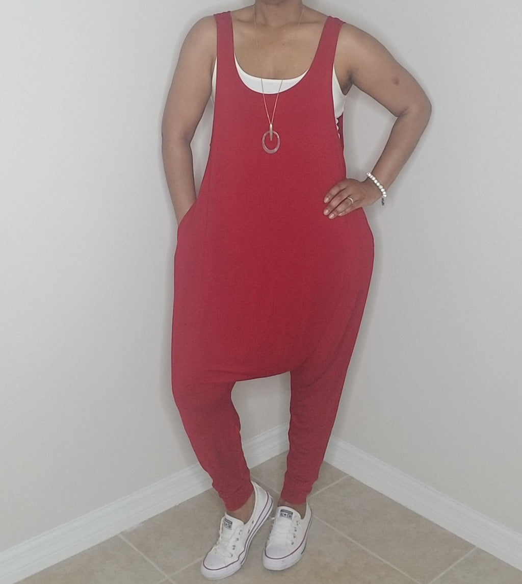 Pocketed Harem Jumpsuit - Ruby Red