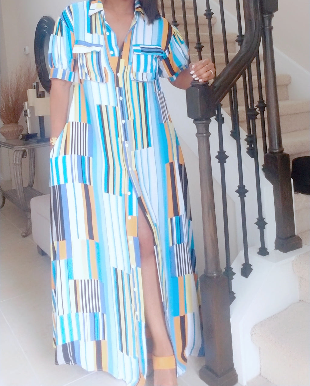 Stripe Button-Up Maxi Dress