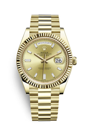 Rolex Day-Date 40 Gelbgold Champagner Diamant