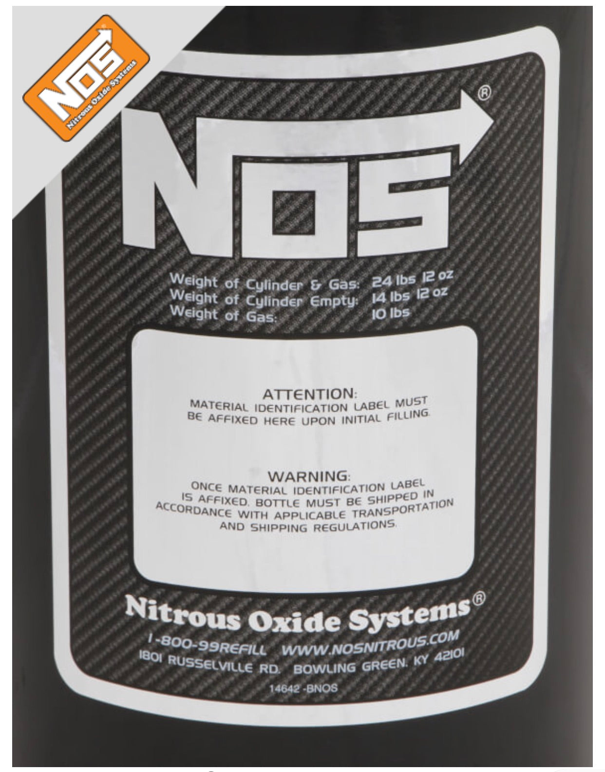 "NOS ""BLACK"" 10LB Nitrous Bottle Hi-Flo W/Racer Safety"