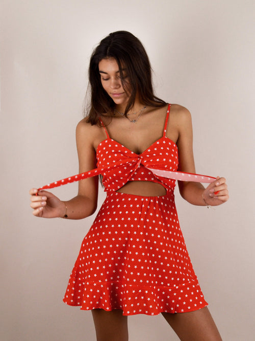 Lucky star dress in red