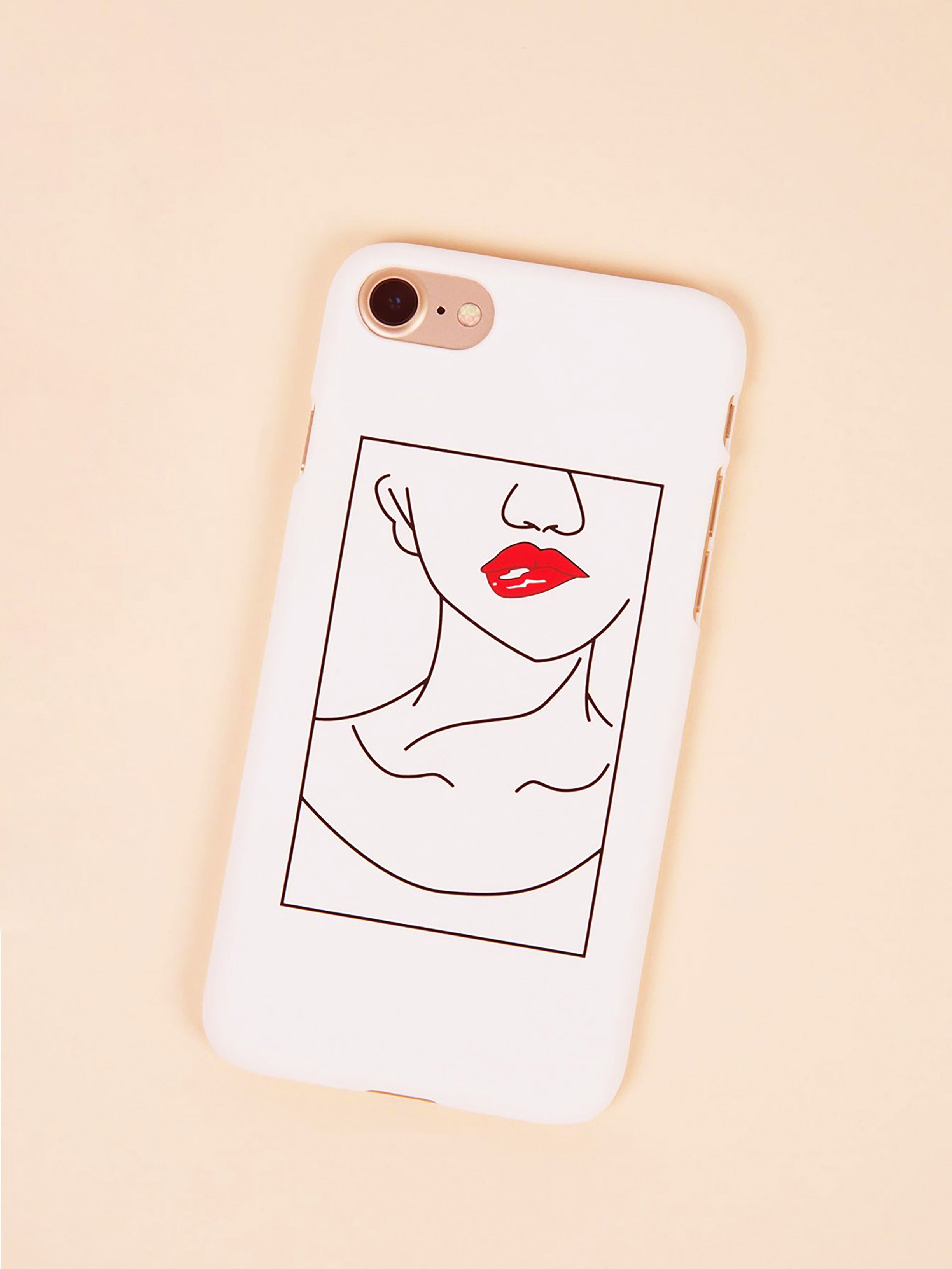 Red lips phone case - white