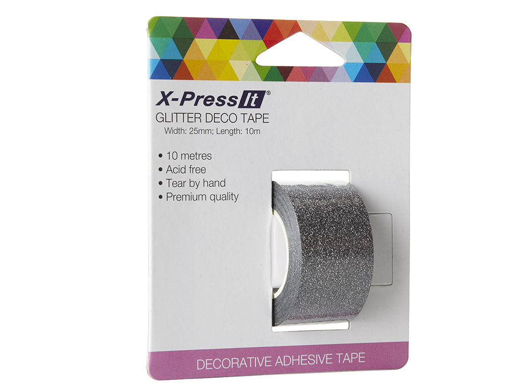 "Deco Tape Glitter Black, 25mm x 10m, 1"" x 11yds"