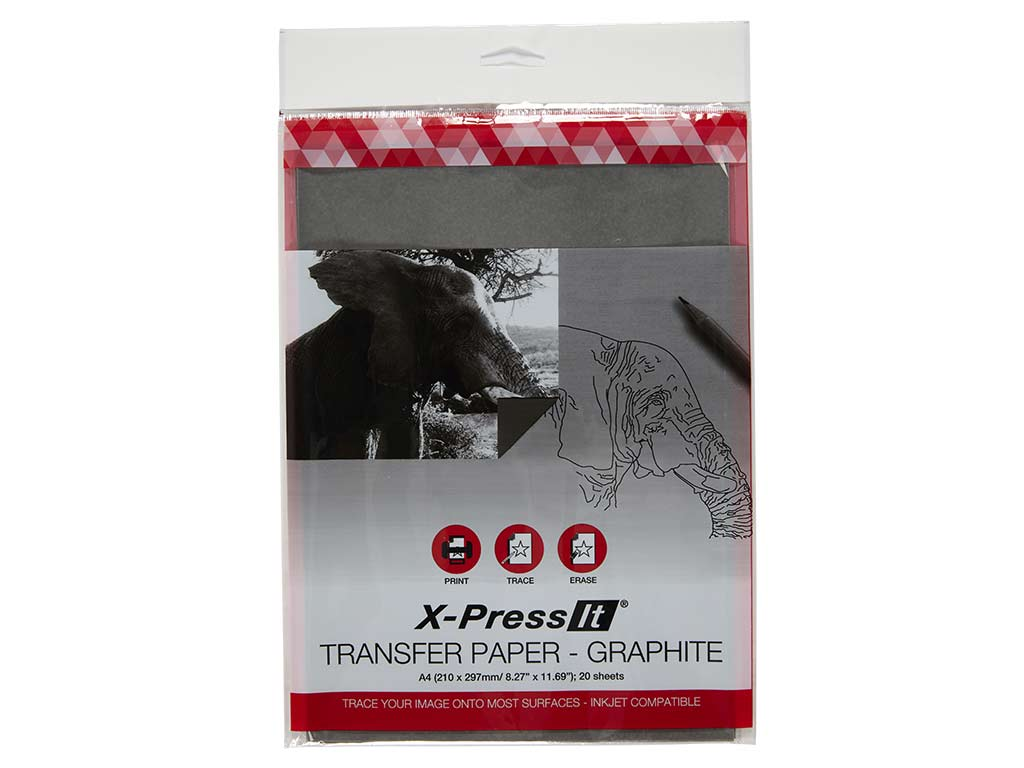 "Transfer Paper A4 Graphite, 210mm x 297mm, 8.27"" x 11.69"" (20 sheets)"