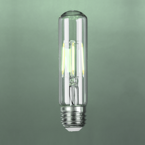 LED 4W T10, Filament, Tubular Vintage Style, 60w Incandescent Replacement,120VAC, E26, 5000K, 360 degree, Clear Glass, Dimmable - Global Lumen