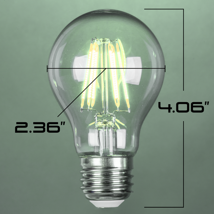 LED 7W A19, Filament, Edison Vintage Style, 60w Incandescent Replacement,120VAC, E26, 5000K, 360 degree, Clear Glass, Dimmable - Global Lumen