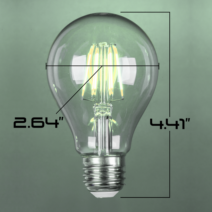 LED 8W A21, Filament, Edison Vintage Style, 75w ~ 100w Incandescent Replacement,120VAC, E26, 5000K, 360 degree, Clear Glass, Dimmable - Global Lumen