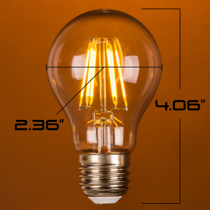 LED 4W A19, Edison Vintage Style, 30w, Filament,120VAC, 2700K, E26, 360 degree, Clear Glass, Dimmable - Global Lumen