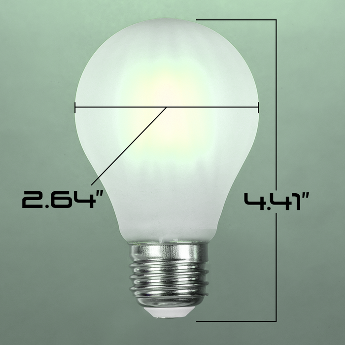 LED 8W A21, Filament,  Edison Vintage Style, 75w ~ 100w Incandescent Replacement,120VAC, E26, 5000K, 360 degree, Frosted Glass, Dimmable - Global Lumen