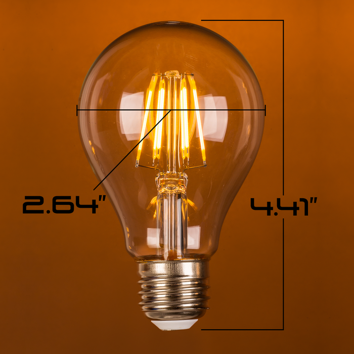 LED 8W A21, Filament, Edison Vintage Style, 75w ~ 100w Incandescent Replacement,120VAC, E26, 2700K, 360 degree, Clear Glass, Dimmable - Global Lumen