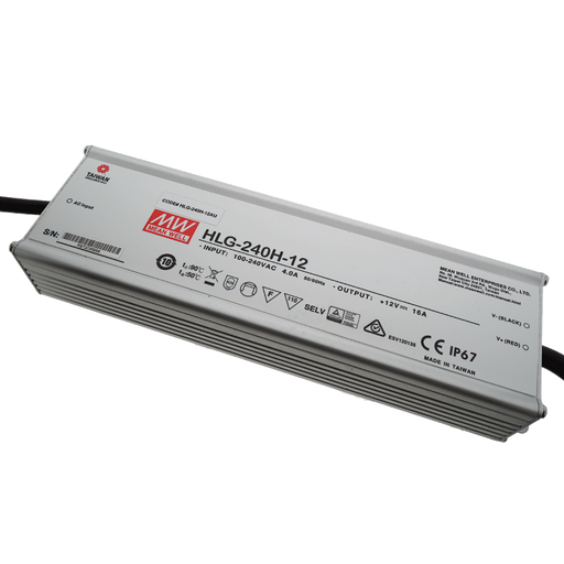 HLG-240H-12 Mean Well Power Supply, 100-277VAC to 12V DC output, 7 Year Warranty, LED Driver - Global Lumen