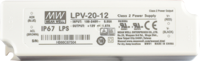 LPV-20-12 Mean Well Power Supply, 100-277VAC to 12V DC output, 2 Year Warranty, LED Driver