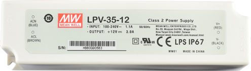 LPV-35-12 Mean Well Power Supply, 100-277VAC to 12V DC output, 2 Year Warranty, LED Driver