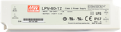 LPV-60-12 Mean Well Power Supply, 100-277VAC to 12V DC output, 2 Year Warranty, LED Driver