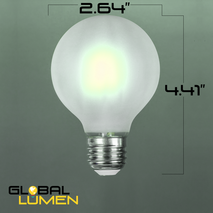 LED Filament, 4W G25, Vintage Style, 40w Incandescent Replacement,120VAC, E26, 5000K, 360 degree, Frosted Glass, Dimmable - Global Lumen