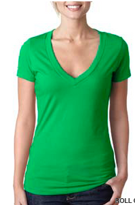 Shirt-Green Women's V-neck T-shirt
