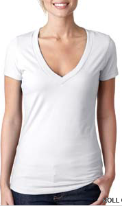 Shirt White Women's V-neck T-shirt