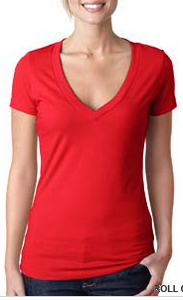 Shirt Red Women's V-neck T-shirt