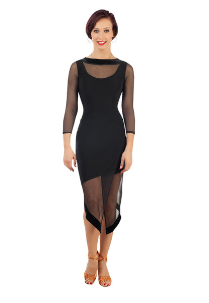 Ladies Black Latin Dress With Over Net