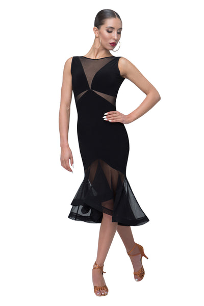Ladies Black Diagonal Section Latin Dress With Over Net