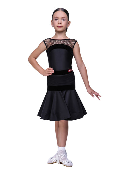 Girls Black practice dress with mesh and velor