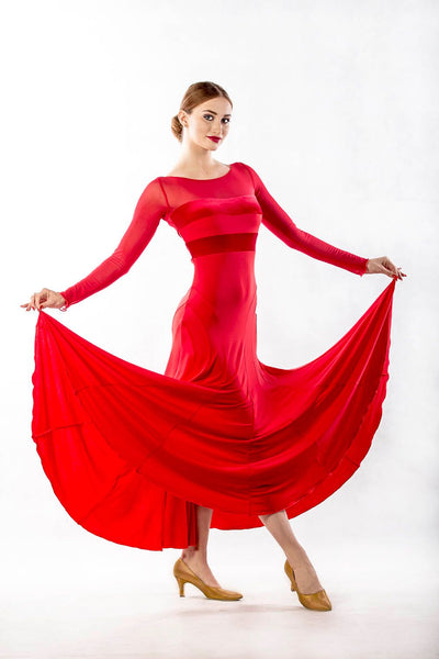 Dance Box Grace Red Ballroom Dress