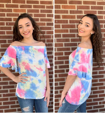 Tie Dye Off-Shoulder Top