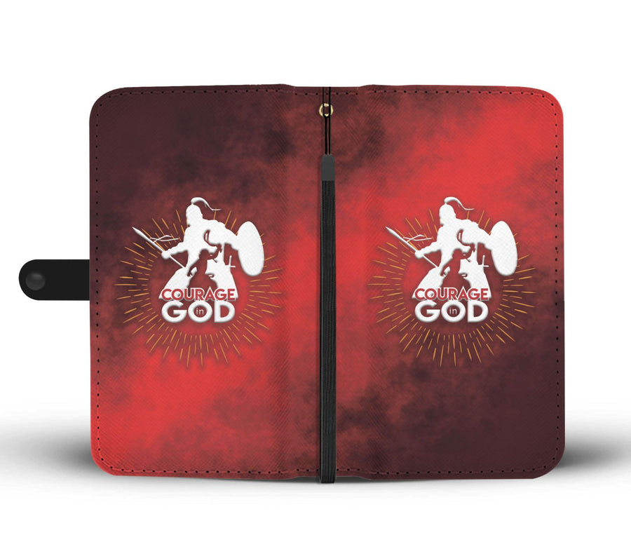 Courage In God Wallet Phone Case
