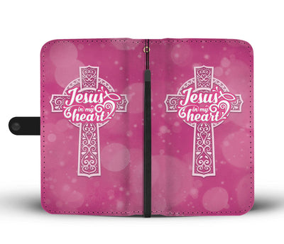 Jesus In My Heart Wallet Phone Case - faithinlord