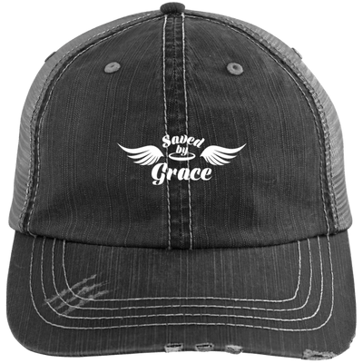 Saved by Grace Distressed Trucker Cap - faithinlord