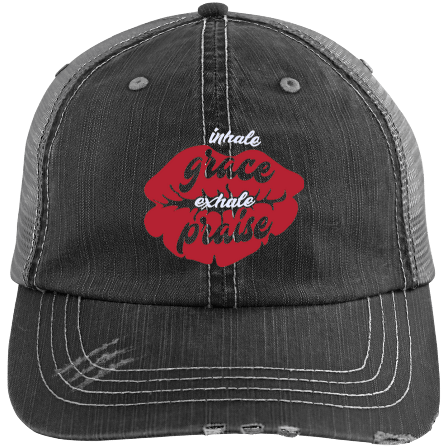 Inhale Grace Exhale Praise Distressed Trucker Cap
